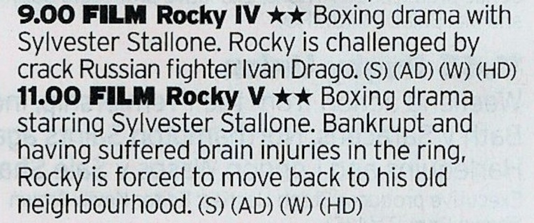 ITV: OR watch Rocky IV again then Rocky...V. Hrm.