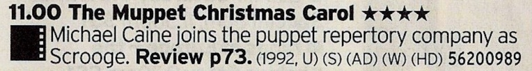 C4 - Oh good golly, here's the good stuff. One of the best Christmas films and certainly one of the best Muppet films