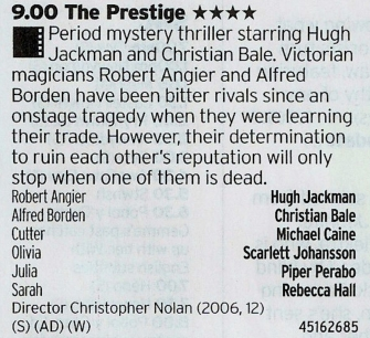 BBC4 - One of the in-between Nolan films and no worse for it, well worth a watch