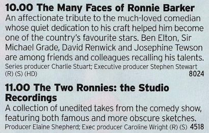 2200 BBC2 - A great double of classic comedy here from BBC2 both centred on Ronnie Barker. The doc looks enjoyable but the gold here is the Studio Recordings. This is well worth watching