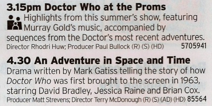 1515 BBC2 - As a warm up to tonight's main event here are two great Who shows; a superb collection of Doctor Who music followed by the top drawer drama about the creation of the show