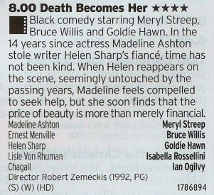 2000 ITV3 - Goldie Hawn's best film and one of the first to really show what CGI effects can really do