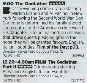 2100 Film4 - Here's one way to bring in New Year's; a back to back marathon of the first two Godfather films