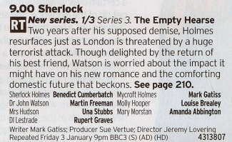 2100 BBC1 - It's been a long time since Sherlock jumped off a rooftop and hopefully it will have been worth the wait. Fingers crossed!