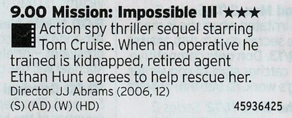2100 Film4 - The best of the Mission: Impossible films? Don't know for sure but it's certainly better than John Woo's effort