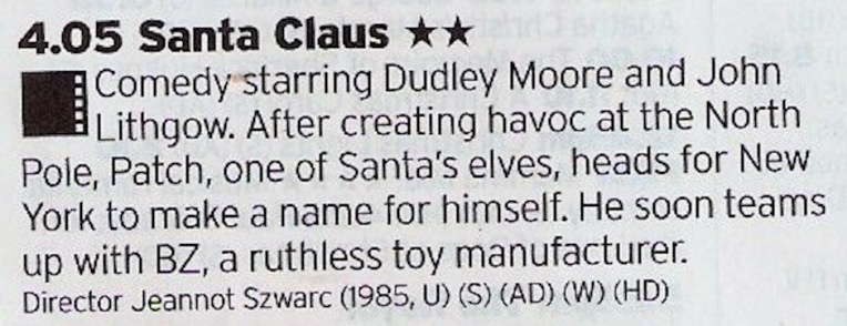 If you only watch one film today then it should be this one. It's bonkers in places but boy is it Christmasy