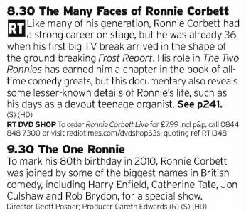 2030 - BBC2 - Two programs about Ronnie Corbett, who was always a big part of the Two Ronnies team despite Barker getting the most praise