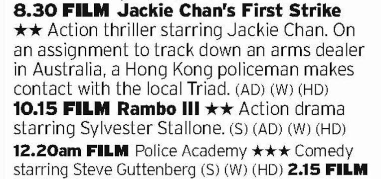 2030 - ITV4 - This is some triple header from ITV4; a Jackie Chan film with THAT scene with the stepladder, Stallone teaming with Al Qaeda and one of Guttenberg's finest