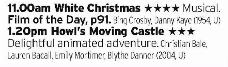 1100 - Film4 - Interesting double bill here; a definitive Christmas film then a Ghibli classic.