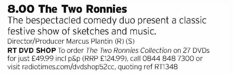 2000 - BBC2 - If you can't have Eric and Ern then The Two Ronnies will do