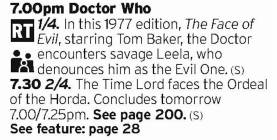 1900 - BBC4 - You would have thought, given the popularity of New Who, that BBC4 would have shown more Classic Who so jump on this one while you can