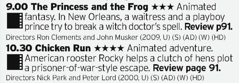 0900 - BBC1 - Great double bill here; a truely great Disney film that doesn't get enough praise followed by Aardman's first stab at a feature film