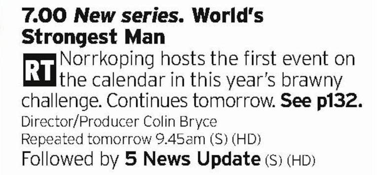 1900 - Channel 5 - Christmas isn't Christmas if you're not watching World's Strongest Man so get it on the season record right now