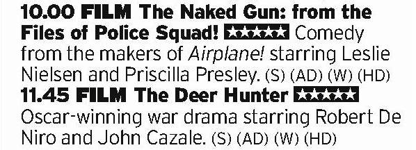 2200 - ITV4 - Boy howdy, ITV4 sure know how to put together a double bill. An absolute hoot of a comedy followed by a cold water bucket of Vietnam? Outstanding