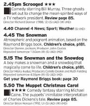 1445 - C4 - You want some Christmas? Then tune into Channel 4 then leave it on: ignore those 3 stars, Scrooged is probably the best Christmas film, follow that up with two definitive Christmas animations then finish it off with the definitive version of Dicken's Christmas Carol. Near perfect run of programs here