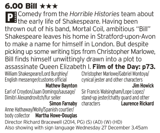 1800 - BBC2 - Horrible Histories in it's prime was, quite frankly, one of the best shows on TV so having the same team together to make a film makes for an absolute treat