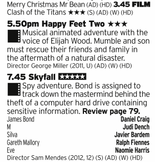 1545 - ITV2 - Start this off with a Christmas gamble; is that first film the iconic original or the daft remake? You then get to see what George Miller was doing when he should have been making more Mad Maxes and then the best of the Daniel Craig Bonds
