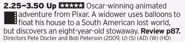 1425 - BBC1 - Say what you like about Pixar, but no film has made me cry like the first ten minutes of this one