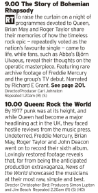 2100 - BBC4 - Why not spend the evening with a whole evening of Queen, from the tale of their iconic hit to the story of one of their best albums