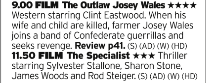 2100 | ITV4 | Another double bill for you, this time cowboys and assassins.
