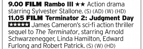 2100 | ITV4 | Another double bill leading with Rambo III that'll get blown out of the water by the film after it. The greatest sequel? Very possibly