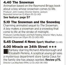 1640 | Channel 4 | If you want the pure spirit of Christmas fired out of a television right into your face then this isn't a bad choice; two Snowmen then Miracle on 34th Street? My goodness