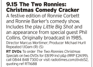 2115 | BBC4 | Speaking of brilliant comedy partnerships, here's The Two Ronnies at Christmas!