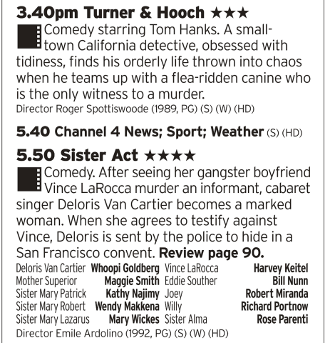 1540 | Channel 4 | More 80s Tom Hanks here, the year after Big cemented him in the A List you can find him teamed up with a dog because why not. Then Whoopi Goldberg as a singing nun.