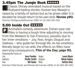 1545 | BBC1 | Disney's current trend of remaking it's classic animated films as live action pretty much makes no sense, especially when you're working from a classic like The Jungle Book so lets just watch that one instead, then follow that up with a modern day Pixar masterpiece