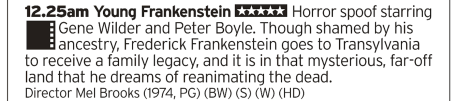 0025 | BBC2 | This'll lighten the mood; arguably Brooks' best film anchored by Gene Wilder's masterful turn as the ancestor of Doctor Frankenstein