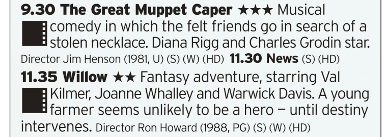 0930 | Channel 4 | What a lovely way to start the day; a slight but still enjoyable Muppets film then George Lucas' stab at fantasy adventure that doesn't quite work but is still a great ride