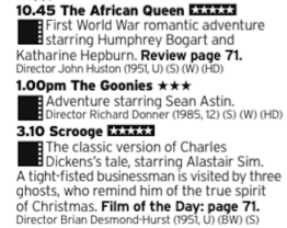 1045 - Channel 5 - Ease yourself in with a nice triple bill covering the ages from 50s Hollywood to 80s Spielberg adventure