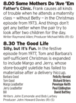 2000 - BBC4 - If that earlier episode of Porridge wet your whilst for Christmas episode of BBC sitcoms of the 70s then here are two more for you