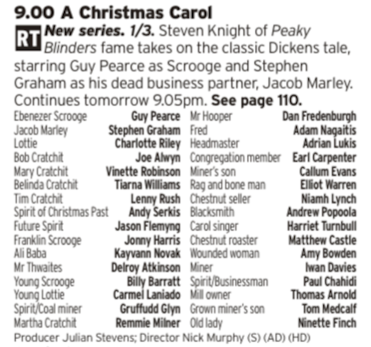 2100 - BBC1 - Guy Pearce rocks up for a new version of the quintessential Christmas tale which looks good, but it will contain some Andy Serkis performance capture so keep an eye out for that