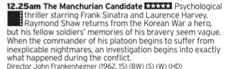 0025 - BBC2 - Frank Sinatra in a Cold War political thriller about sleeper agents? Sure, why not