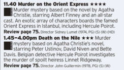 1140 - BBC2 - Two 70s takes on Agatha Christie's Poirot character back to back as a nice comparison for you