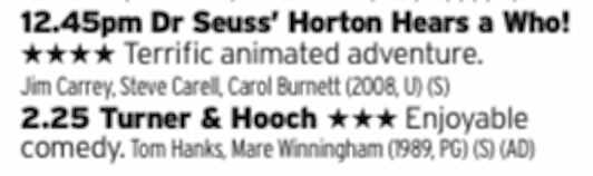 1245 - Film4 - Listen, not saying it's a classic but Horton has a great heart to it and is well worth your time. And then watch Tom Hanks with a dog