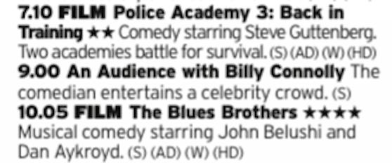 1910 - ITV4 - Guttenberg Day concludes with, what else, but a Police Academy film. Chill out after that with a comedic tour de force from Billy Connolly then finish up with a big daft comedy