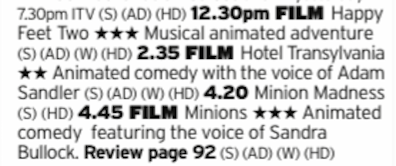1230 - ITV2 - This selection may test your tolerance levels but you have a range of options here; dancing penguins from Mr Mad Max, the first Hotel Transylvania film and Minions. Lots of Minions.